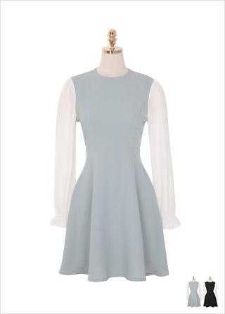 op8728 배색 쉬폰 소매로 매력적인 실루엣을 선사하는 플레어 미니 원피스 dress