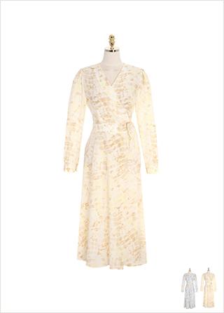 op8732 드라마틱한 실루엣을 선사할 몽환적인 파스텔 컬러 패턴의 V넥 랩 롱 원피스 dress