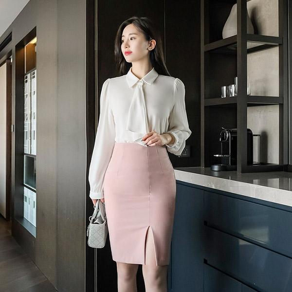 sk4023 앞트임으로 더욱 편안한 베이직 기본 H라인 스커트 skirt