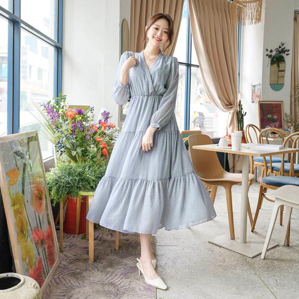op8771 V넥여밈 스냅버튼과 3단 캉캉디자인으로 퀄리티가 남다른 허리밴딩 도트 쉬폰 롱원피스 dress