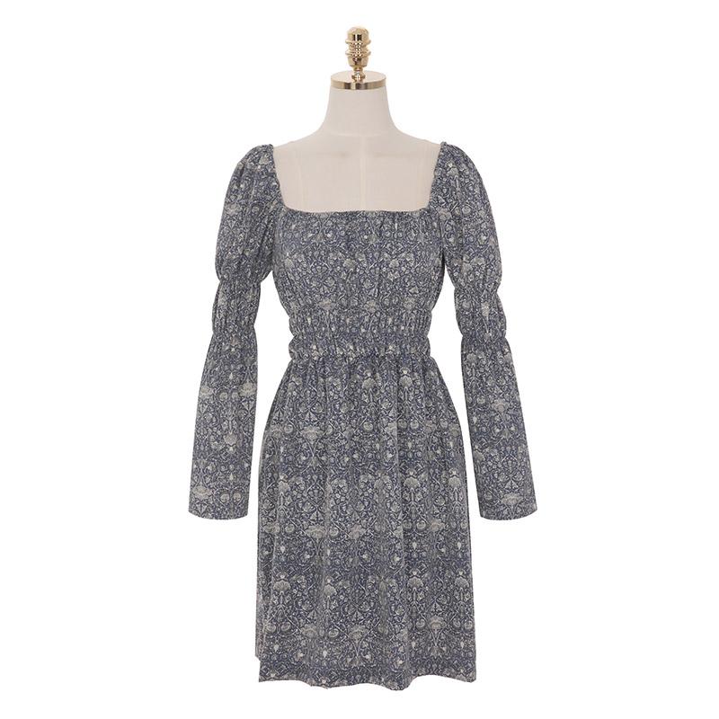 op8790 에스닉한 패턴으로 분위기 있게 완성된 스퀘어넥 밴딩 미니 원피스 dress