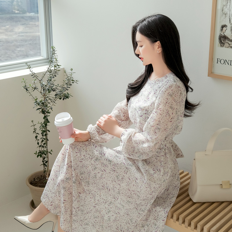 op8779 잔잔한 플라워 패턴으로 더욱 여성스러운 하이웨이스트 플레어 롱 원피스 dress