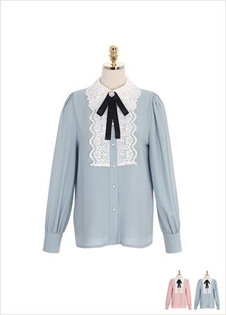 bs5015 레이스 카라 디테일이 돋보이는 브로치 세트 구성의 로맨틱 블라우스 blouse