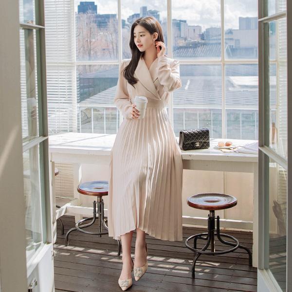 op8829 여성스럽고 우아한 숄카라 디자인의 플리츠 주름 롱 원피스 dress