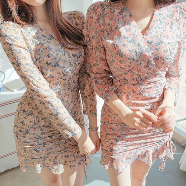 op8821 수채화처럼 번지는 컬러 믹스 패턴의 셔링포인트 쉬폰 미니원피스 dress