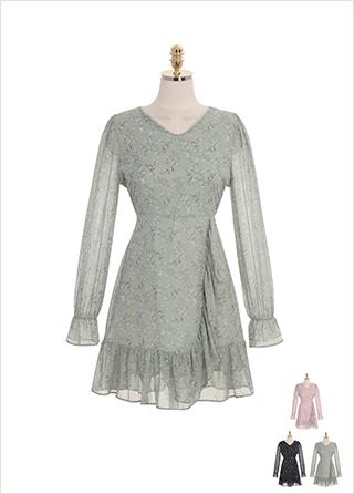 op8816 랩 스타일의 프릴 라인이 돋보이는 플라워 패턴 쉬폰 미니 원피스 dress