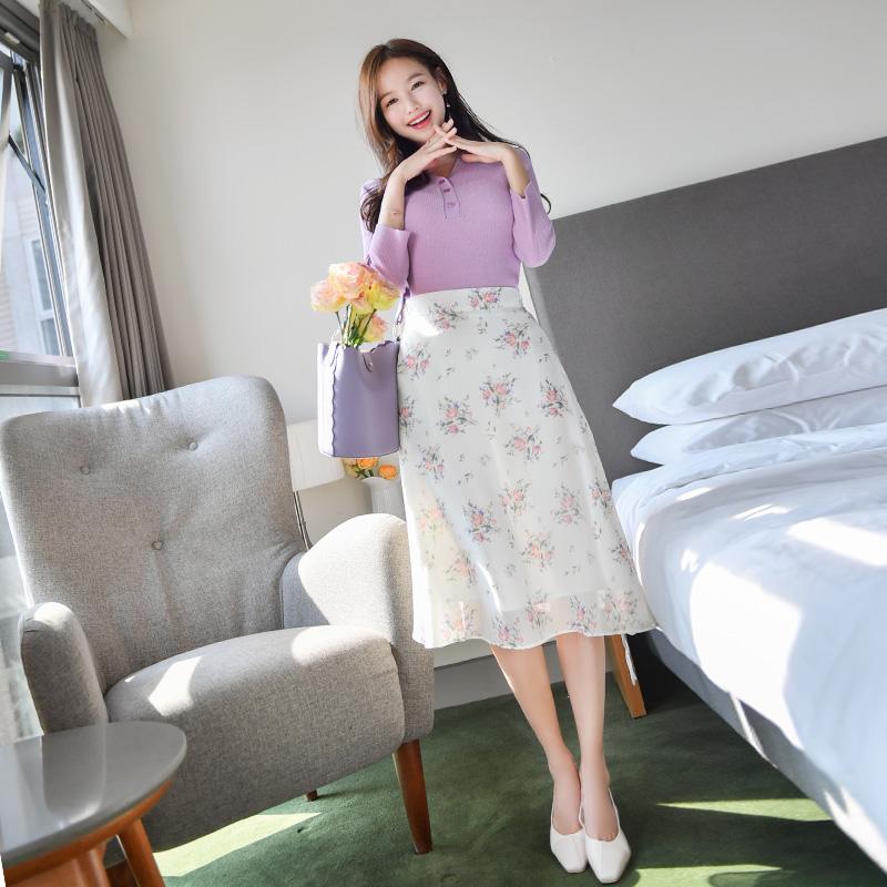 sk4043 꽃향기 가득한 플라워 패턴 포인트 백밴딩 롱 쉬폰 스커트 skirt