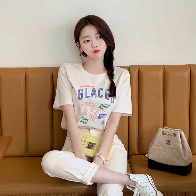 ts1992 アイスクリーム&レタリングポイントTシャツ