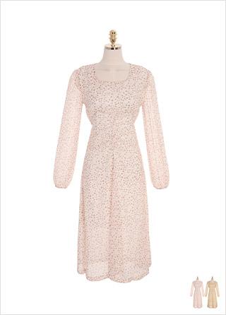 op8843 플라워 패턴으로 완성된 셔링 포인트 스퀘어넥 쉬폰 롱 원피스 dress