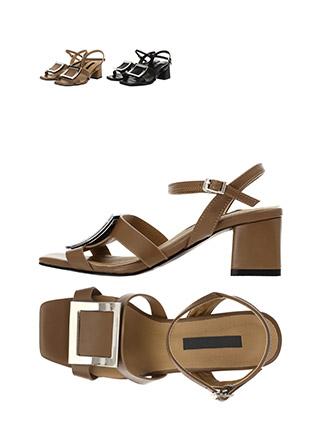 sh1816 모던한 감성과 사각 프레임 디자인의 미들힐 오픈토 샌들 shoes