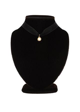 ac4463 시스루한 도트쉬폰 소재의 진주펜던트 포인트 초커네크리스 necklace