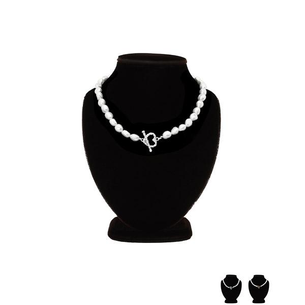 ac4465 러블리한 고급스러움을 선사할 하트고리 포인트의 담수진주 네크리스 necklace