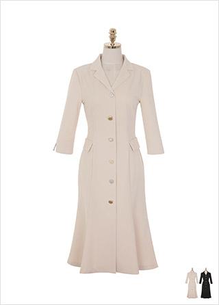 op8886 3가지 사이즈 구성과 다양한 고급 버튼 디자인의 더블 카라 머메이드 롱 원피스 dress