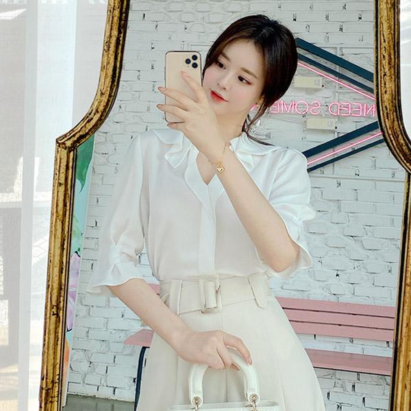 bs5065 로맨틱한 훌카라 포인트 쉬폰 블라우스 blouse