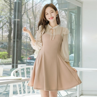 op8924 고급진 로맨틱무드의 쉬폰배색포인트 뷔스티에디자인 플레어 미니원피스 dress