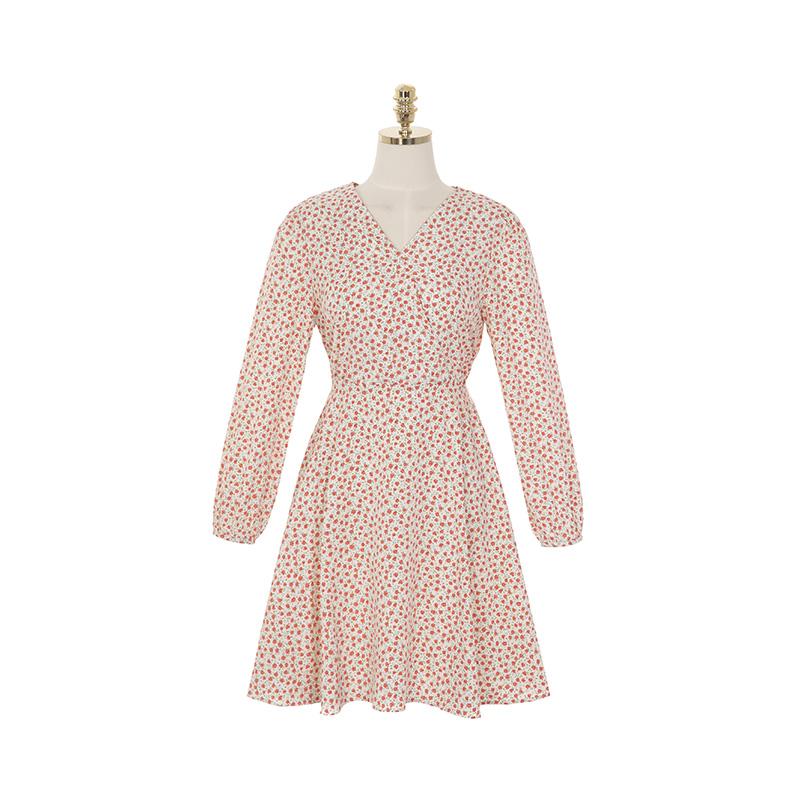 op8892 앙증맞은 장미꽃 패턴으로 완성된 랩 스타일 플레어 미니 원피스 dress