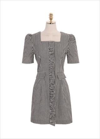 op8899 전면 중앙라인의 프릴장식과 퍼프 소매가 러블리한 체크 미니 원피스 dress