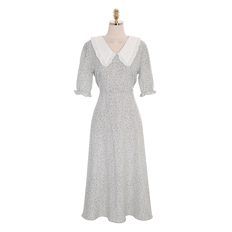 op8902 소녀감성 가득한 와이드 카라와 플라워 패턴의 A라인 롱 원피스 dress