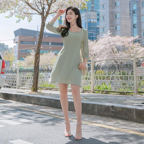 op8973 화사한 파스텔컬러의 고급스러운 다이아넥 플레어라인 미니원피스 dress