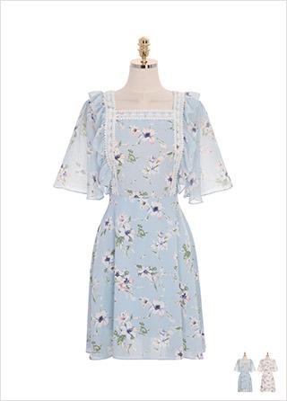 op8928 퓨어한 무드가 느껴지는 플라워 패턴의 레이스장식 쉬폰 원피스 dress