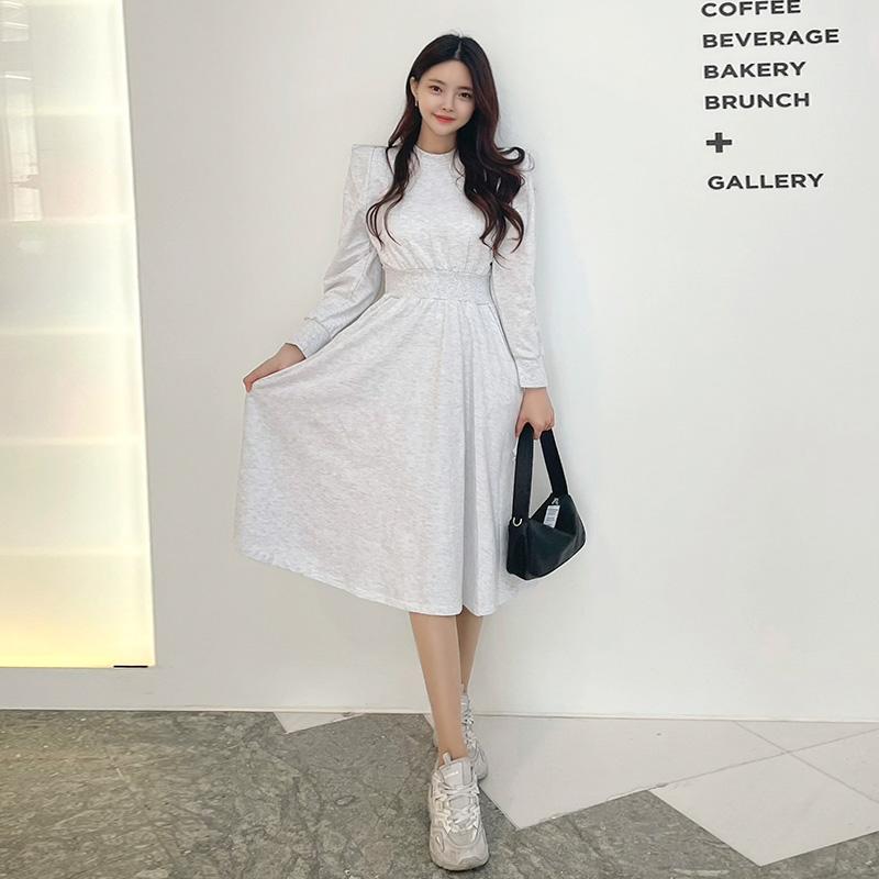 op8945 유니크한 숄더 포인트의 허리밴딩 맨투맨 플레어 원피스 dress