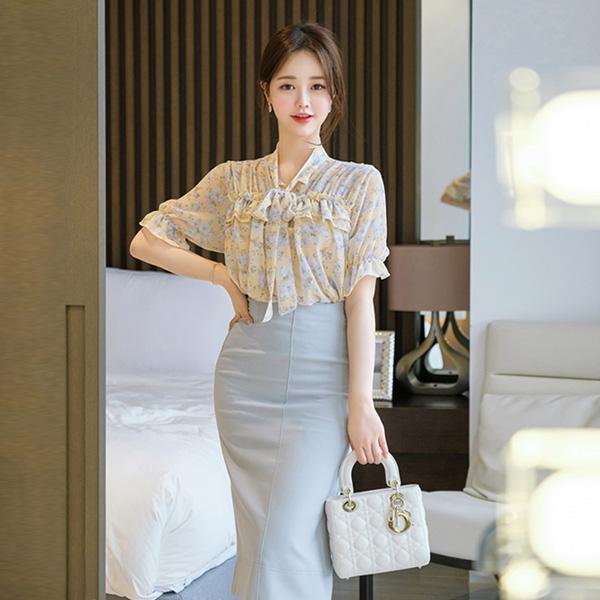 bs5094 사랑스러운 프릴장식이 가득한 플라워 리본타이 쉬폰 블라우스 blouse