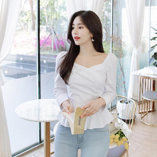 bs5107 산뜻한 코튼 패브릭의 퍼프소매 7부 페플럼 블라우스 blouse