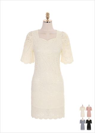 op8954 여리한 실루엣을 연출해드리는 어깨 셔링 디테일의 하트넥 레이스 원피스 dress