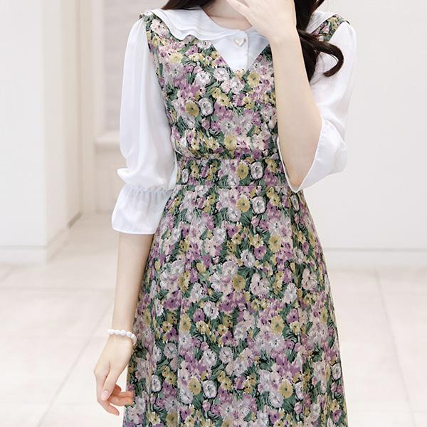 bs5092 하트 쉐입 버튼으로 사랑스럽게 포인트 준 프릴 카라 블라우스 blouse