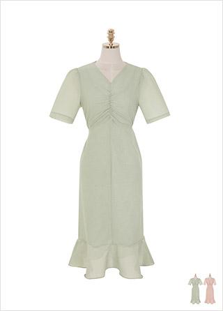 op9012 가슴 셔링 디자인이 매력적인 로맨틱 무드의 브이넥 롱 원피스 dress