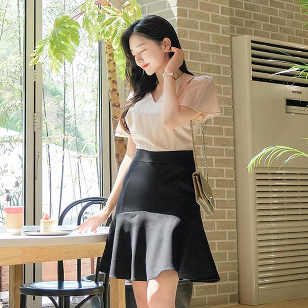 op9030 가녀린 날개소매 디자인의 고급스러운 배색디자인 로맨틱 플레어원피스 dress