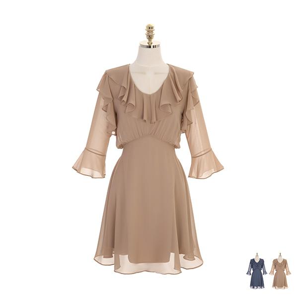 op9051 러블리한 무드의 프릴 디테일이 매력적인 뒷리본 쉬폰 원피스 dress