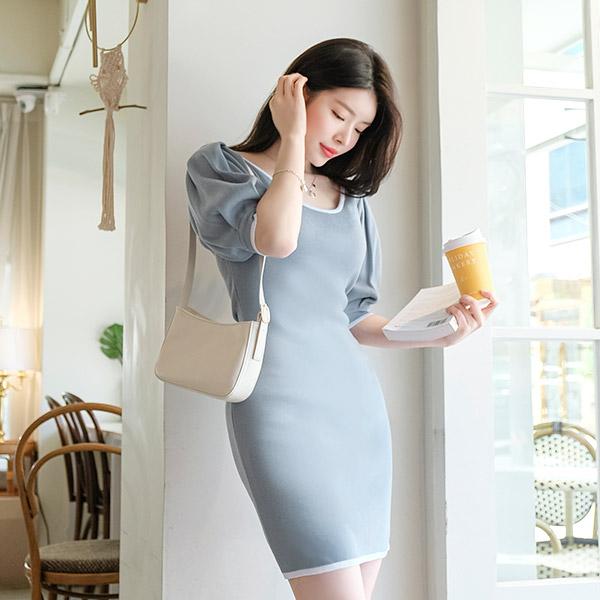 op9129 인형같은 실루엣으로 연출해줄 배색 슬림니트 원피스 dress