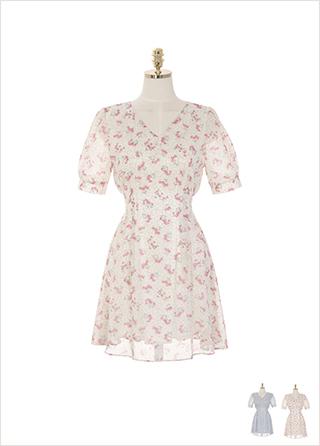 op9143 여리한 무드로 연출하기 좋은 플라워 패턴 쉬폰 미니 원피스 dress