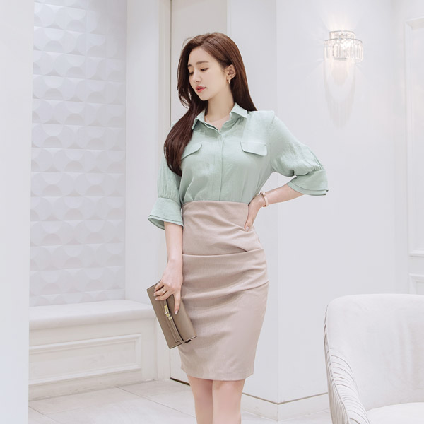 sk4134 글램한 힙라인을 선사해줄 사이드 셔링 디자인의 미디롱 H라인 슬림스커트 skirt