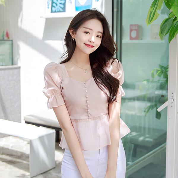 bs5146 로맨틱한 뷔스티에를 입은 듯 사랑스러운 레이어드 시스루 페플럼 블라우스 blouse