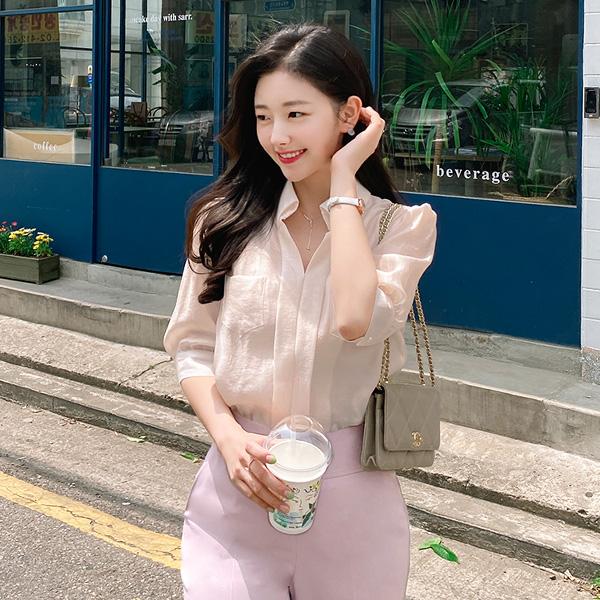 bs5152 은은하게 빛나는 시스루소재의 양포켓디자인 베이직 반팔 블라우스 blouse