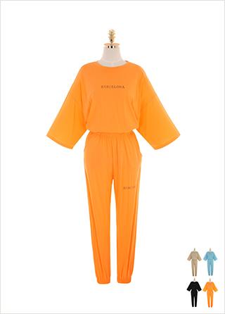 op9193 박시핏 티셔츠와 밴딩 조거 팬츠 구성의 레터링 트레이닝 투피스 세트 two piece set