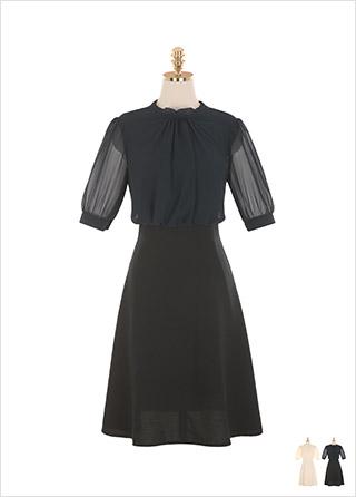 op9234 쉬폰 셔링 블라우스와 플레어 스커트가 일체된 형태의 페미닌 미니 원피스 dress