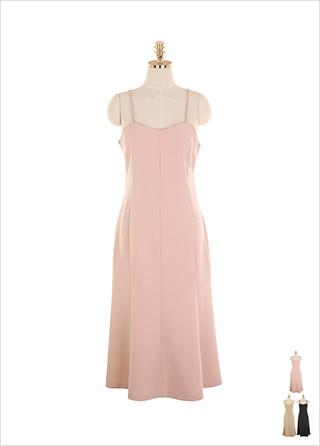 op9196 페미닌한 실루엣이 연출되는 세미 머메이드 라인 서스펜더 롱 원피스 dress