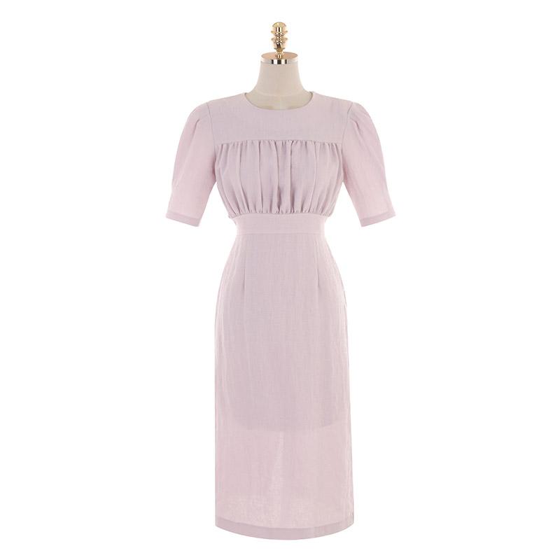 op9202 바스트 라인의 셔링 디테일이 돋보이는 H라인 미디 원피스 dress