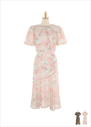 op9237 트로피컬한 패턴으로 완성된 사이드 셔링 쉬폰 롱 원피스 dress