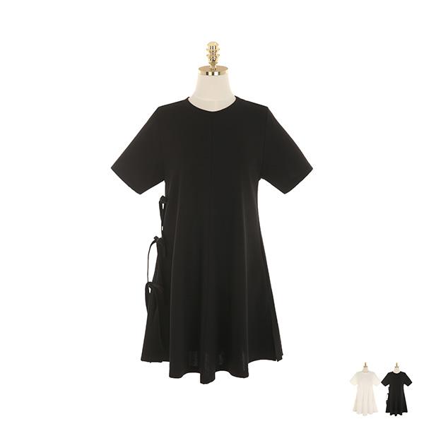 op9240 사이드 라인에 귀여운 리본 포인트가 더해진 A라인 트임 미니 원피스 dress