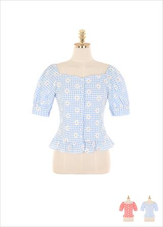 bs5188 상큼한 데이지 체크 패턴으로 완성된 밑단 프릴 오프숄더 블라우스 blouse