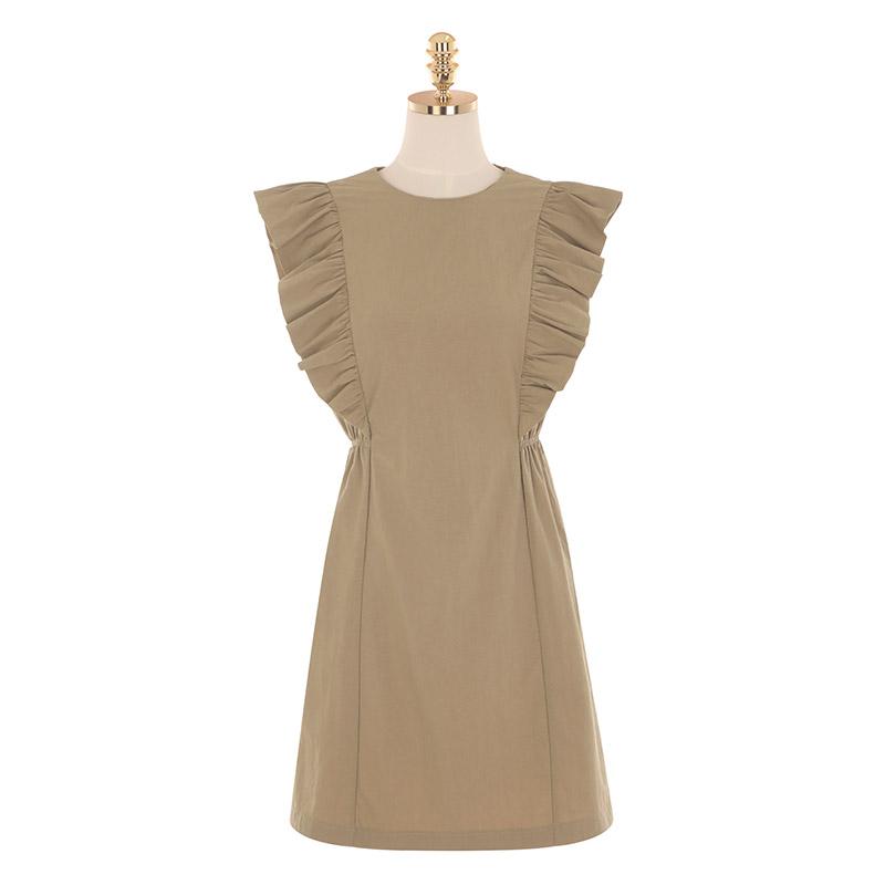 op9247 사랑스런 프릴 장식이 더해진 사이드 밴딩 슬리브리스 원피스 dress