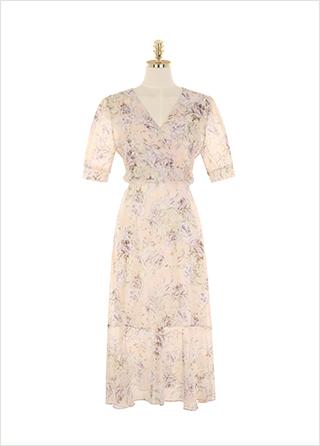 op9279 은은한 플라워 패턴으로 완성된 랩스타일 쉬폰 롱 원피스 dress