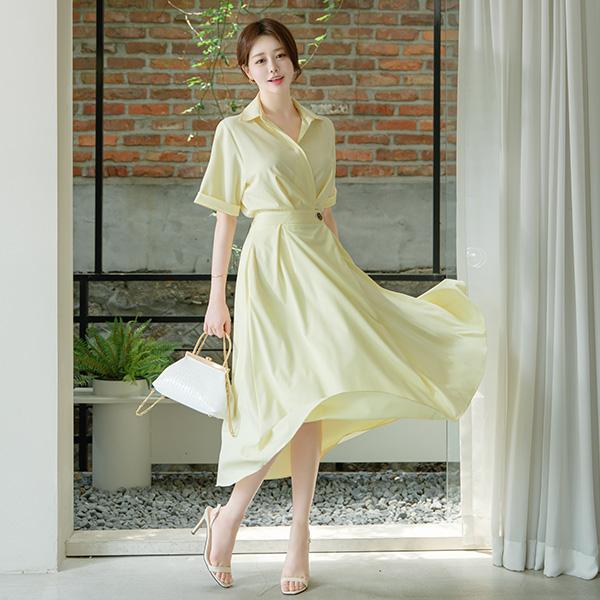 op9267 단정하고 고급스러운 분위기의 늘 사랑받는 카라 브이넥 랩 롱원피스 dress