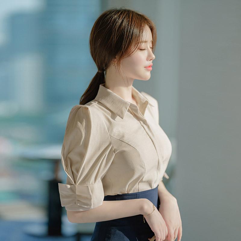 bs5199 세련되게 그려낸 스타일리쉬한 핀턱 디테일의 카라 퍼프 블라우스 blouse