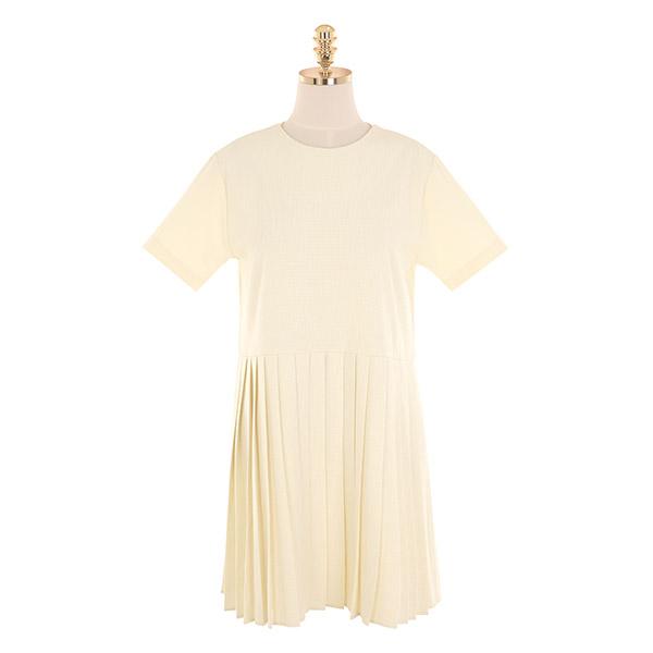 op9295 크리미한 컬러감으로 완성된 잔체크 패턴 플리츠 반팔 미니 원피스 dress
