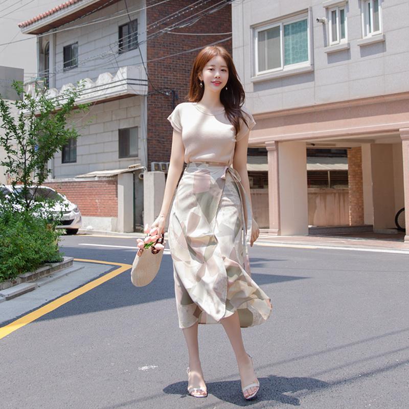 sk4187(A) 유니크한 패턴과 컬러감이 매력적인 플레어 랩 롱스커트 skirt